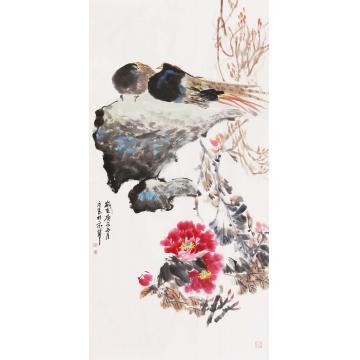 杜元春四尺整张竖幅国画花鸟相依字画之家