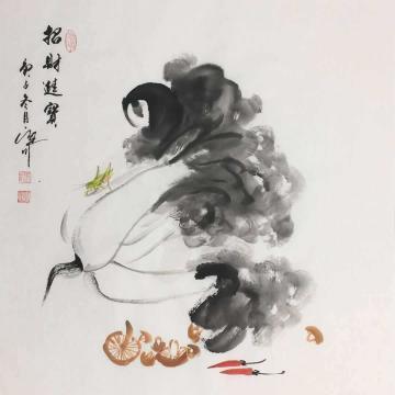 吴定川国画花鸟招财进宝字画之家
