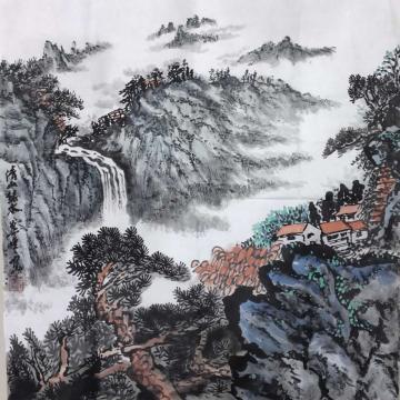 叶峰三尺斗方国画山水清山绿水字画之家