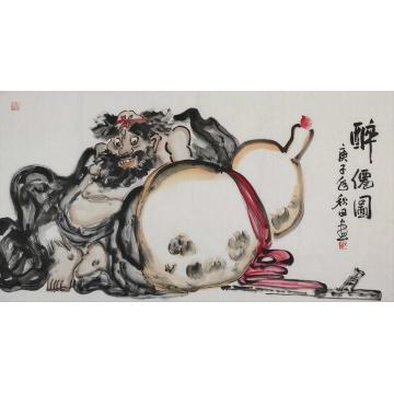 熊秋田三尺整张横幅国画人物醉仙图字画之家