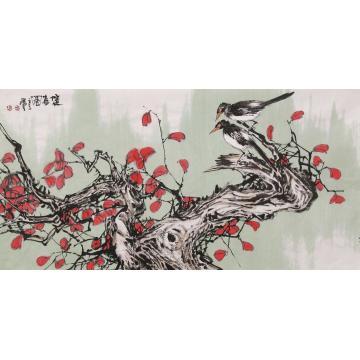 武洪星四尺整张横幅国画花鸟双喜图字画之家