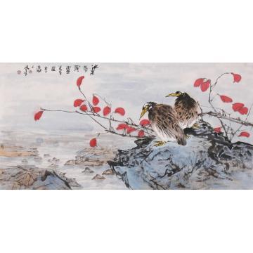 武洪星四尺整张横幅国画花鸟池深水风阔字画之家