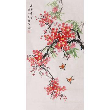 周艺三尺整张竖幅国画花鸟鸟语花香字画之家