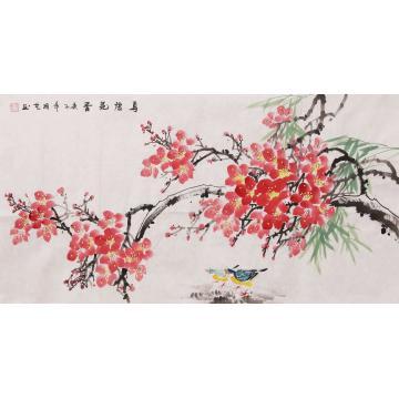 周艺三尺整张横幅国画花鸟鸟语花香字画之家