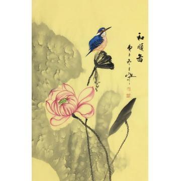吴定川四尺三开竖幅国画花鸟和顺图字画之家