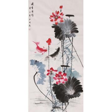 莫少成四尺整张竖幅国画花鸟连年有余字画之家
