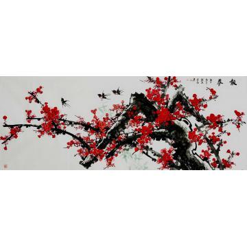 王长纯小六尺整张横幅国画花鸟报春字画之家