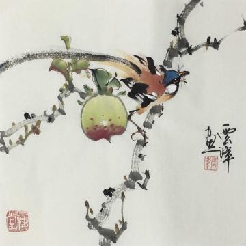 吴云峰四尺八开斗方国画花鸟寿喜图字画之家