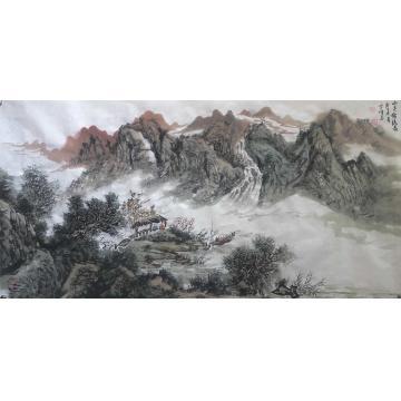 陆雪峰三尺整张横幅国画山水山色锦绣图字画之家