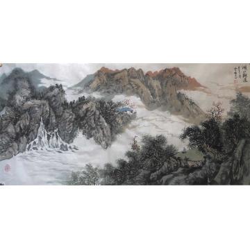 陆雪峰三尺整张横幅国画山水湖山观瀑字画之家