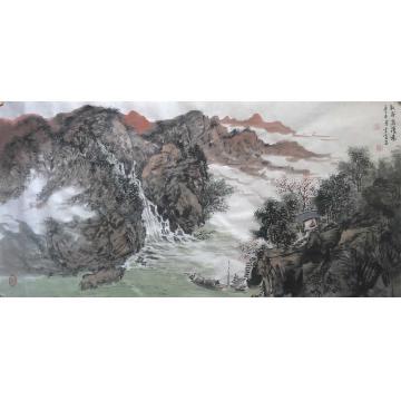 陆雪峰三尺整张横幅国画山水秋谷泉涌图字画之家