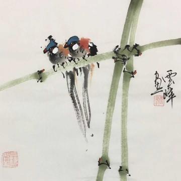 云峰国画花鸟平安双栖字画之家