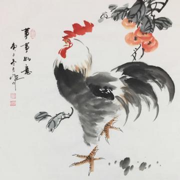 吴定川三尺斗方国画花鸟事事如意字画之家