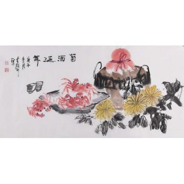 杜金声三尺整张横幅国画花鸟菊酒延年字画之家
