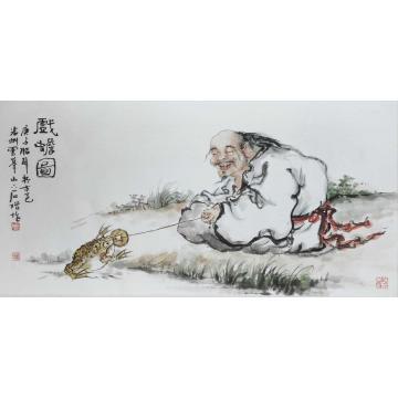 姜兆兴四尺四开横幅国画人物戏蟾图字画之家