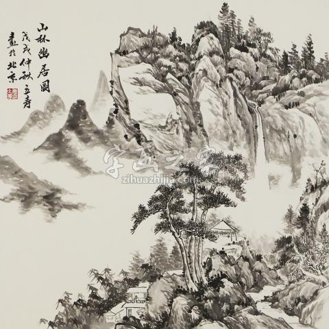 姜立寿四尺斗方国画山水山林幽居图-展览作品字画之家