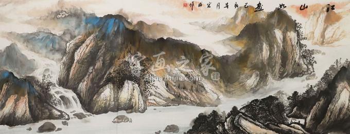 梁宏成小六尺整张,横幅国画山水江山如画字画之家