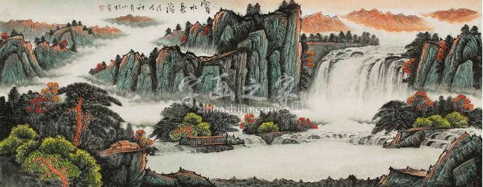 蒋小松小六尺整张横幅国画山水富水长流字画之家