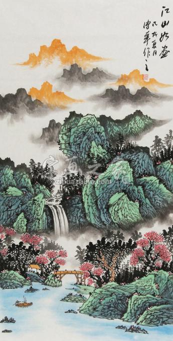 朱传华四尺整张竖幅国画山水江山如画字画之家
