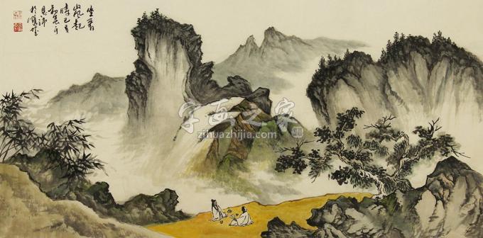 于恩沛四尺整张,横幅国画山水坐看山风起字画之家
