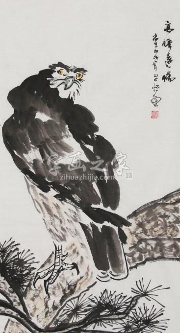 程芷怡三尺整张竖幅国画动物高瞻远瞩字画之家