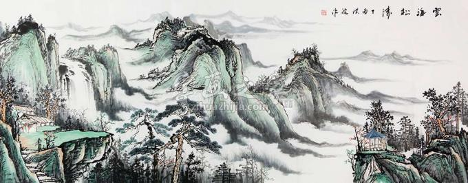 梁洪波小六尺整张横幅国画山水云海松涛字画之家