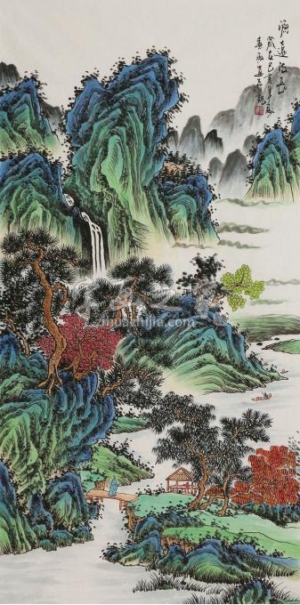王春雨四尺整张竖幅国画山水源远流长字画之家