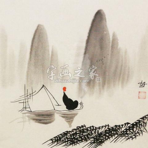 赵芳芳三尺斗方国画人物禅悟字画之家