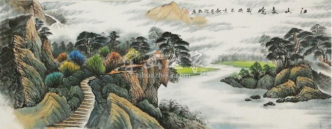 沈松小六尺整张,横幅国画山水江山多娇字画之家