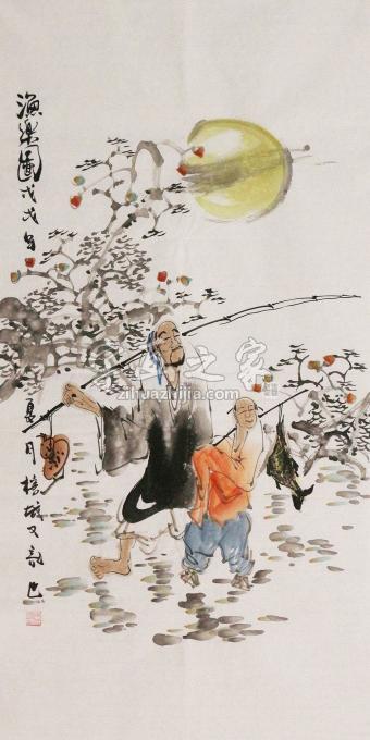 周佳惠三尺整张竖幅国画人物渔乐图字画之家