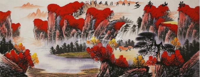 张茂林小六尺整张横幅国画山水福山寿水字画之家
