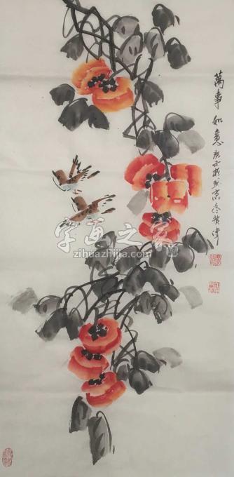 佟广伟三尺整张竖幅国画花鸟万事如意字画之家