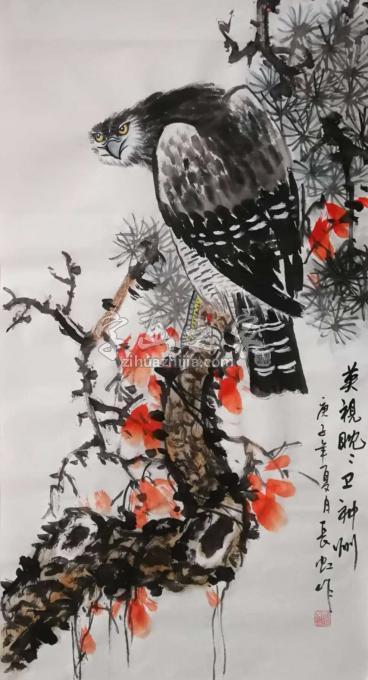谢长虹三尺整张竖幅国画花鸟英视眈眈卫神州字画之家