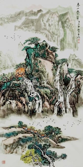 王长纯三尺整张竖幅国画山水春山叠翠字画之家