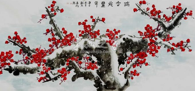 王长纯四尺整张横幅国画花鸟瑞雪兆丰年字画之家