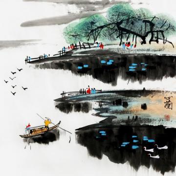 周心兰国画山水江上渔者字画之家